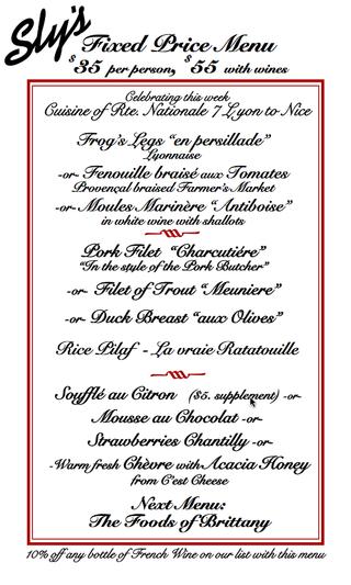 Sly's Rte 7 fixed price menu