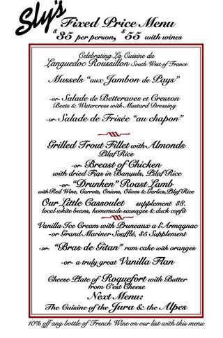 Sly's Fixed Price Menu April 2013