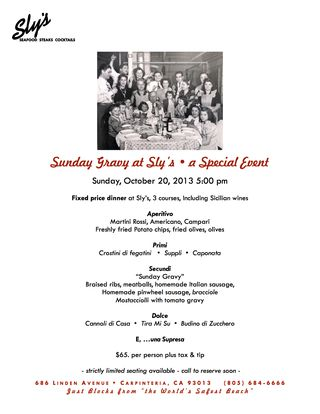 Sly's Sunday Gravy flyer