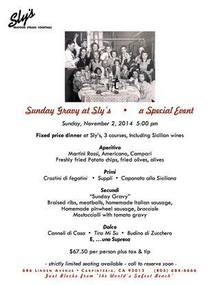 Sunday Gravy flyer 2014