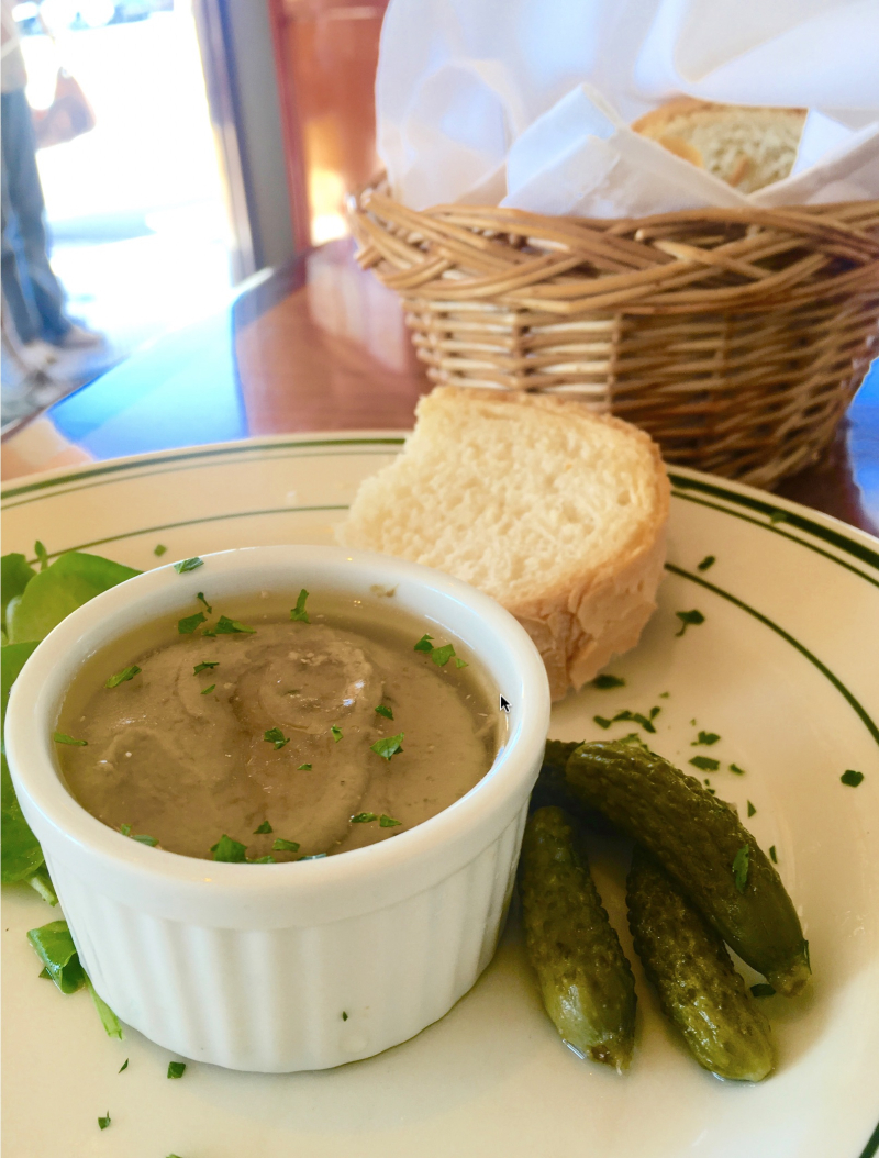 Julia Child's Chicken Liver Mousse with Cornichons and Sly's crusty French bread