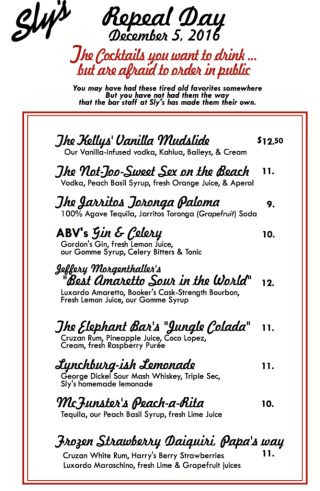 Repeal Day Menu 2016