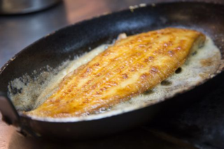 Dover Sole Meunière in black iron pan