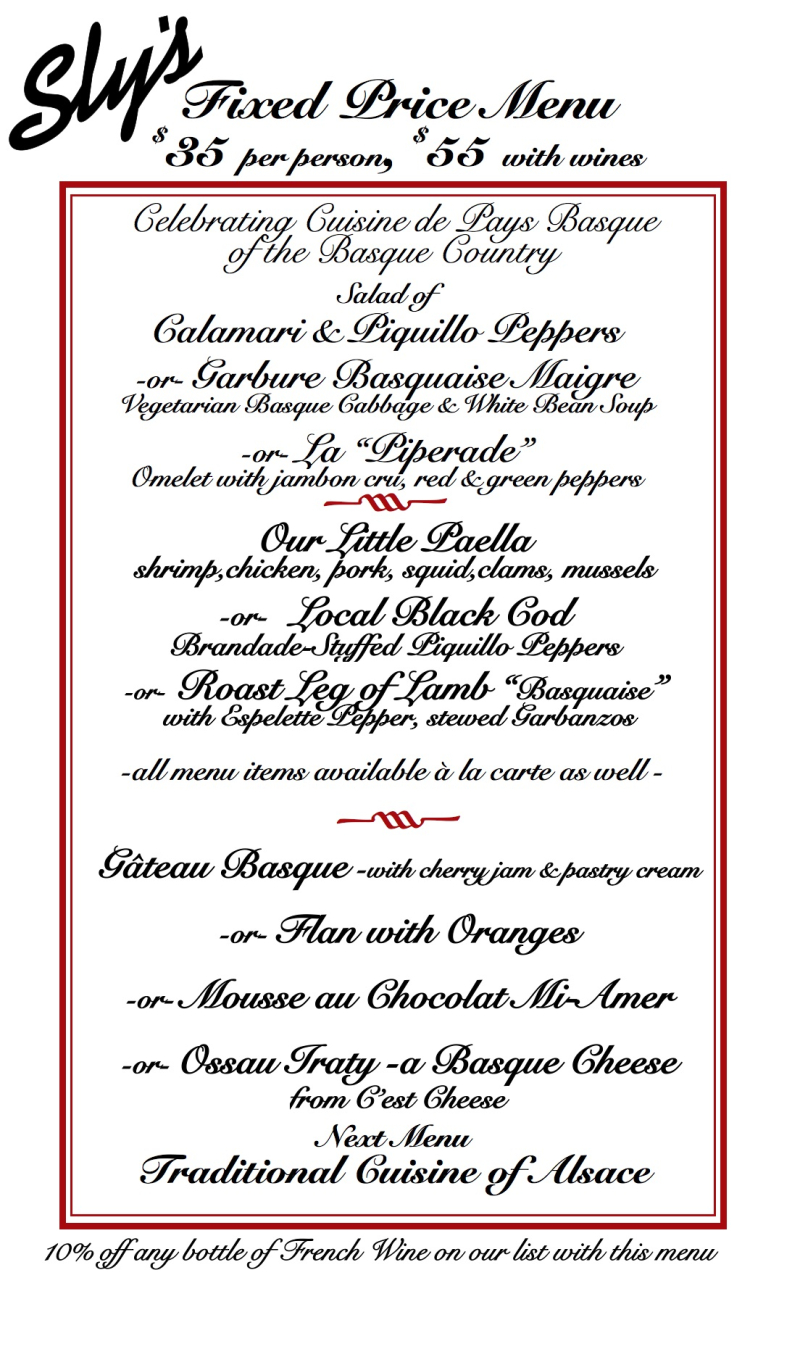 Sly's Fixed Price Basque Menu